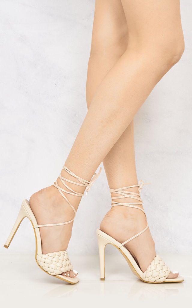 Lola Quilted Open Toe High Heel Lace Up Sandal In Nude by Miss Diva