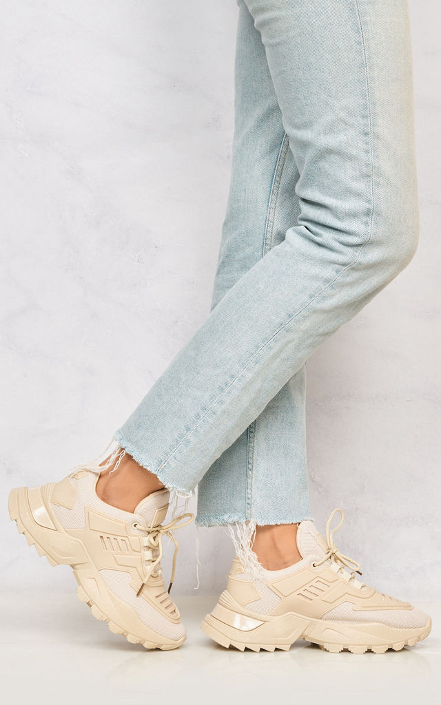 Antonia Platform Lace Up Trainer In Beige by Miss Diva