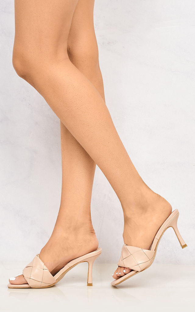 Lopez Plait Detail Front Mid Heel Open Toe Mule In Blush by Miss Diva
