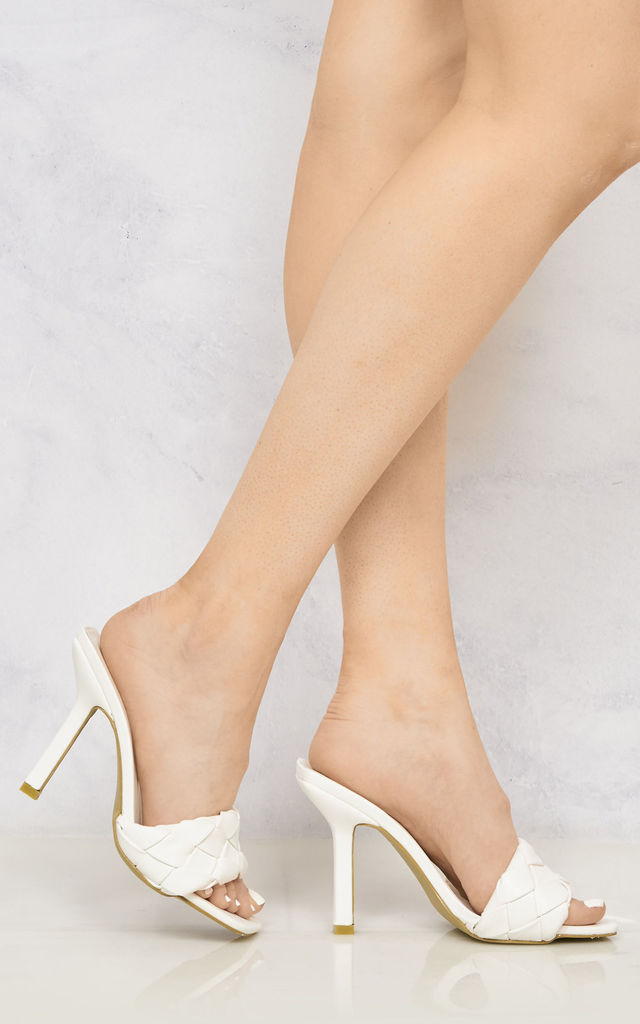 Lopez Plait Detail Front Mid Heel Open Toe Mule In White by Miss Diva