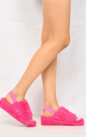 BooBoo Fluffy Band Sandal In Pink by Miss Diva