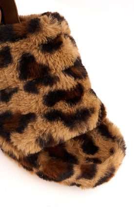 BooBoo Fluffy Band Sandal In Leopard by Miss Diva