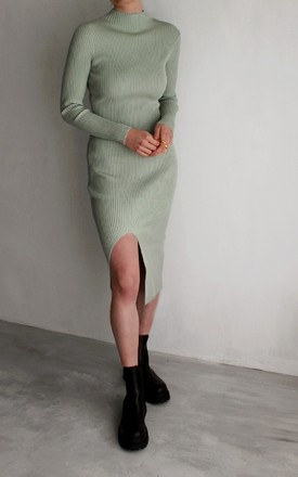 Sage Green Ribbed Knit Dress with Split by HAUS OF DECK