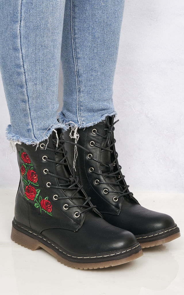 Double Sole Rose Print Boot In Black Pu by Miss Diva