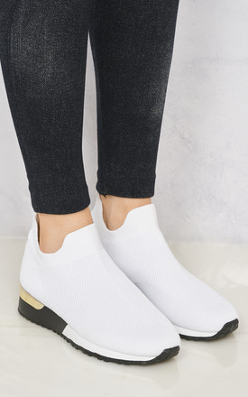 Arizona Slip On Sock Trainer With Gold Detail In White by Miss Diva