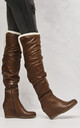 Lousia Fur Wedge Boot In Camel by Miss Diva