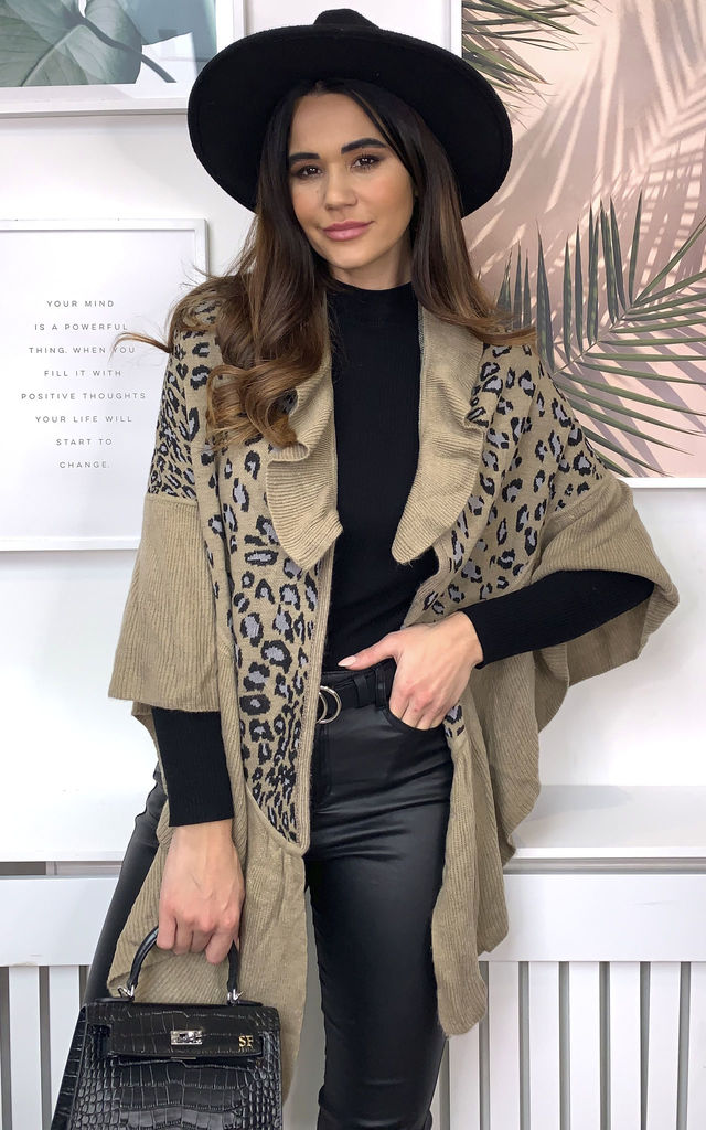 Leopard Ruffle Collar Cape/Shawl by Malissa J Collection