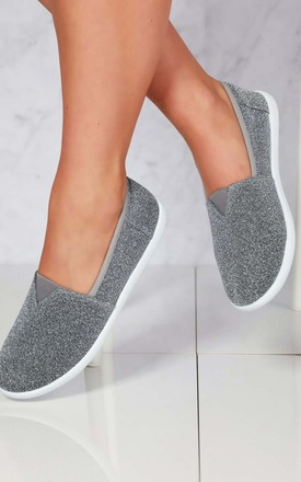 Tizzy Flat Slip On Textil Pump In Dark Grey by Miss Diva