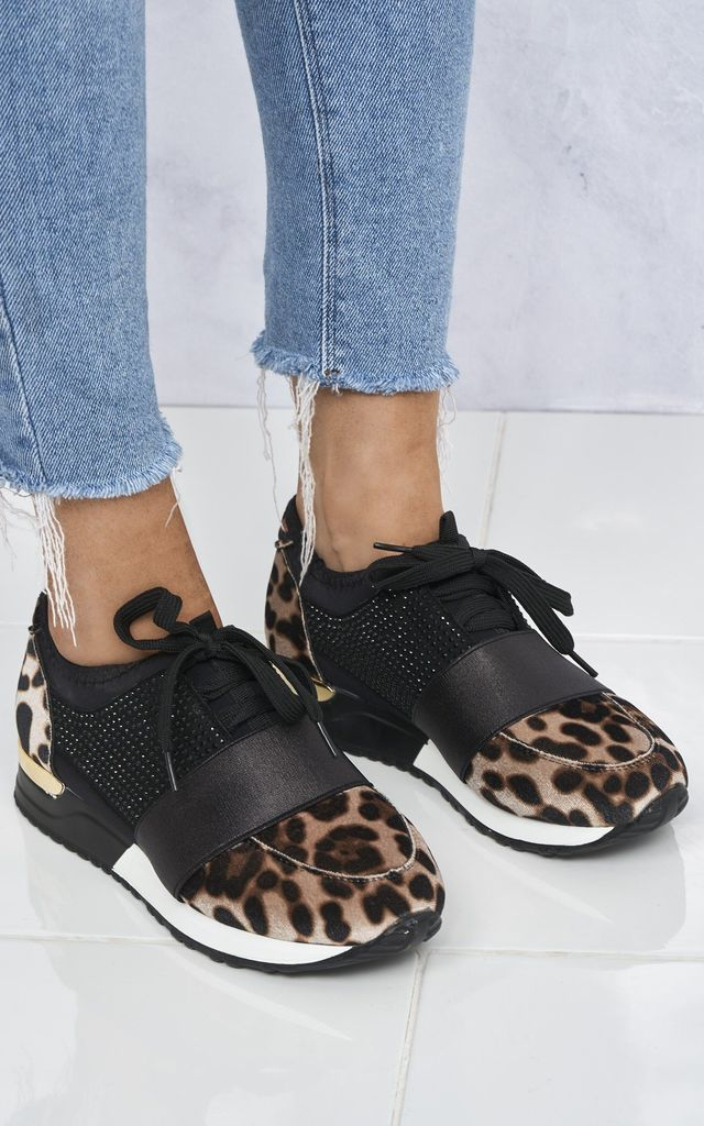 Rafa Stretch Band Diamante Lace Up Trainer In Leopard by Miss Diva