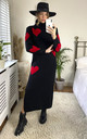 Polo Neck Heart Jumper Dress in Black & Red by KURT MULLER