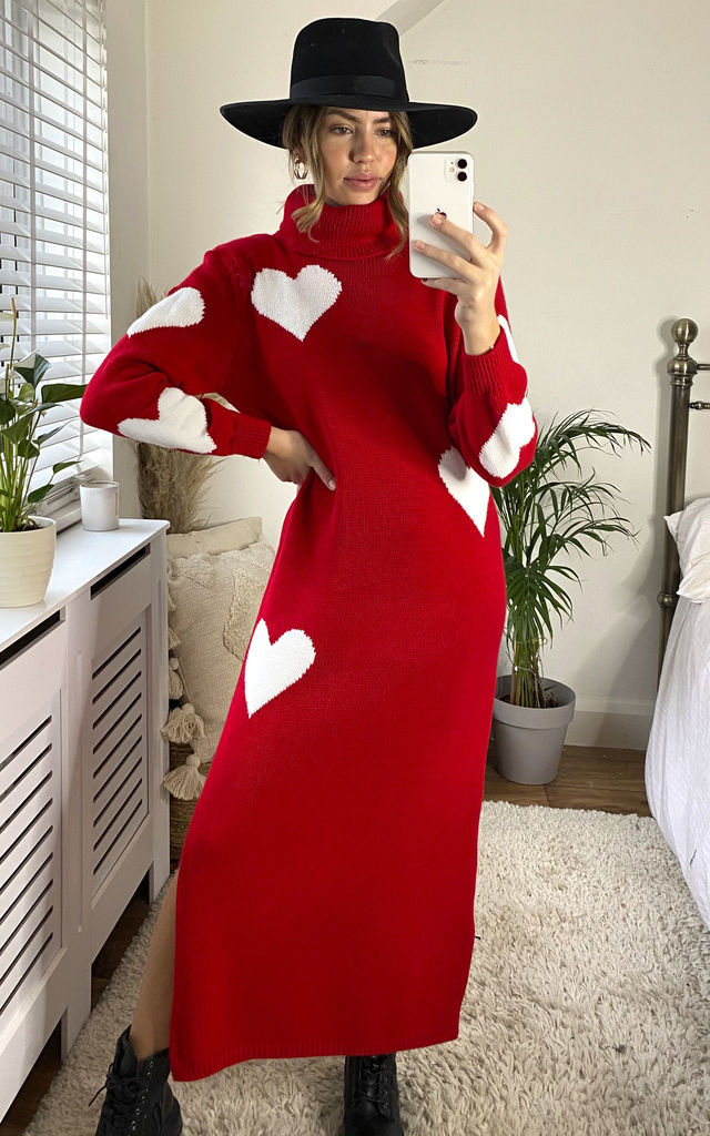 Polo Neck Heart Jumper Dress in Red by KURT MULLER