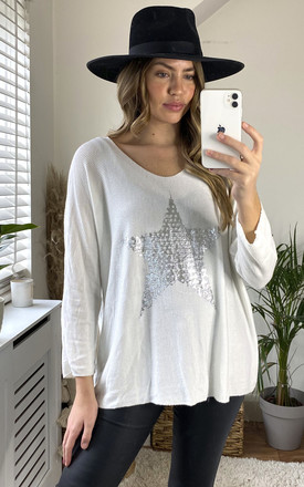 Silver Star Fine Knit Top in White by KURT MULLER