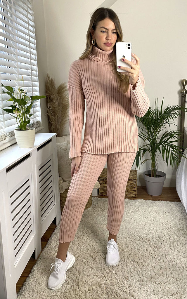Ribbed Knitted Co Ord Set In Pink by Jenerique