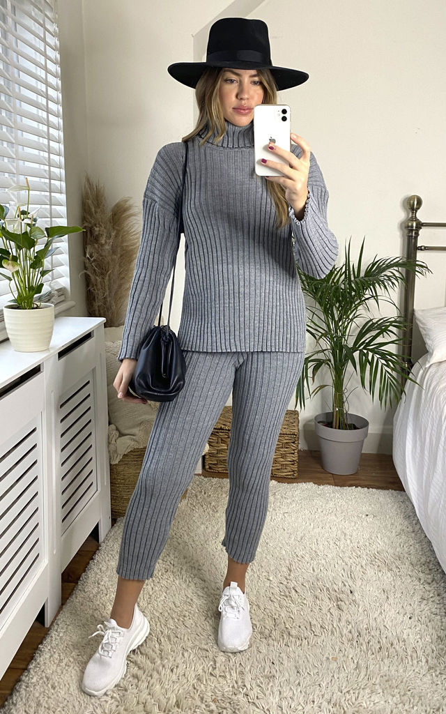 Ribbed Knitted Co Ord Set In Grey by Jenerique