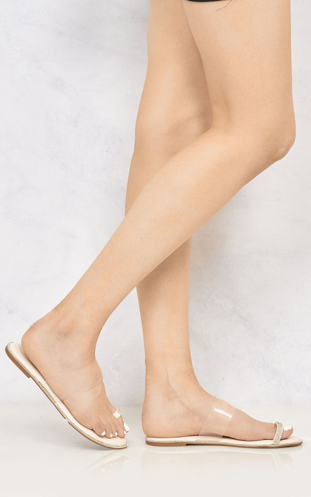 Majorca Diamante Edge Clear Slider With Toe Ring In Nude by Miss Diva
