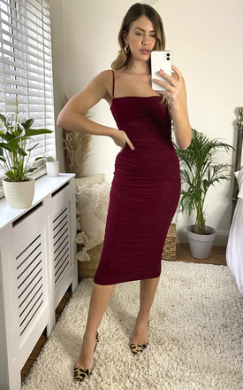 Ruched Mesh Bodycon Midi Dress In Burgundy by Miss Floral