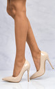 Mila High Stiletto Heel Court Shoe In Nude Patent by Miss Diva