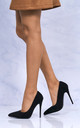 Mila High Stiletto Heel Court Shoe In Black Suede by Miss Diva