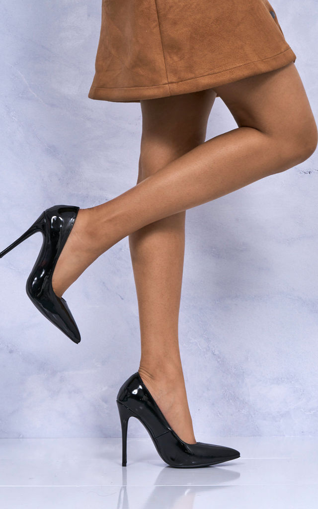 Mila High Stiletto Heel Court Shoe In Black Patent by Miss Diva