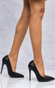 Mila High Stiletto Heel Court Shoe In Black Matt by Miss Diva