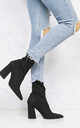 Everly Pointed Toe Flare Heel Calf Boot In Black Suede by Miss Diva