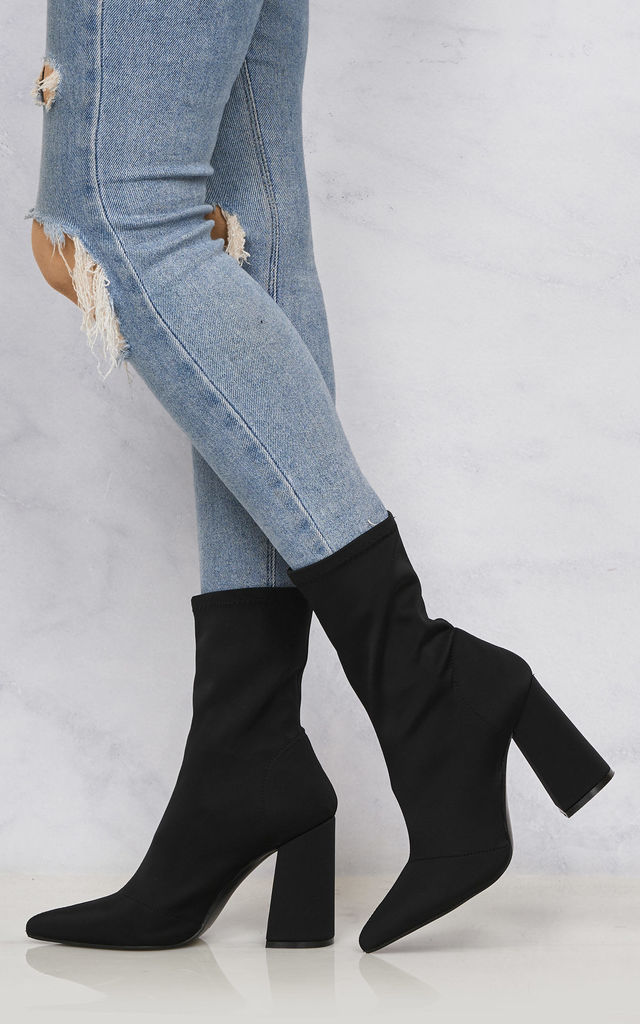 Everly Pointed Toe Flare Heel Calf Boot In Black Lycra by Miss Diva