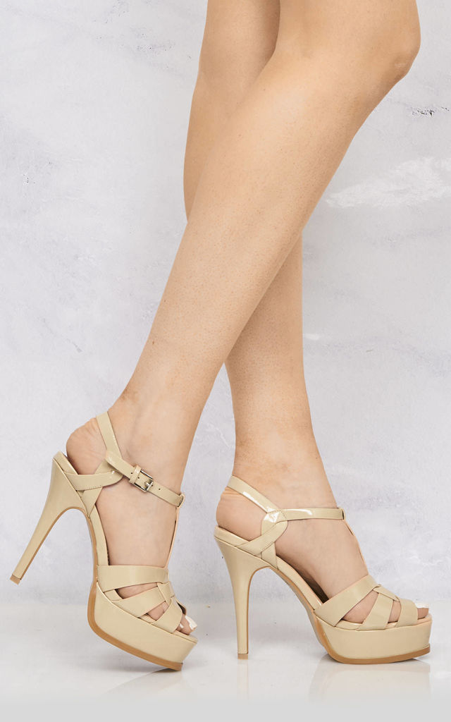 Tani High Platform T-Bar Sandals In Lime Nude Patent by Miss Diva
