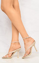 Melissa Ankle Strap Cross Front Ankle Strap Open Toe High Heel Sandal In Nude by Miss Diva