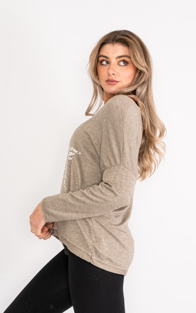 Taupe long sleeve top with leopard print star design. by Lucy Sparks