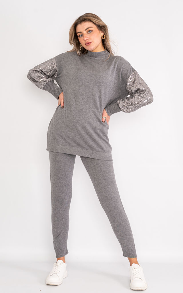 Grey sequin sleeve loungewear set. by Lucy Sparks