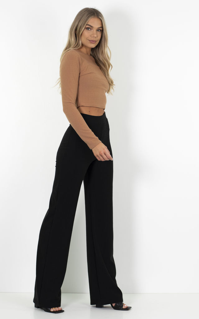 Brown Long Sleeve Recycled Crop Top by Waste to Waist