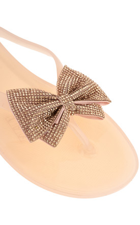 Annie Diamante Bow Slip On In Nude by Miss Diva