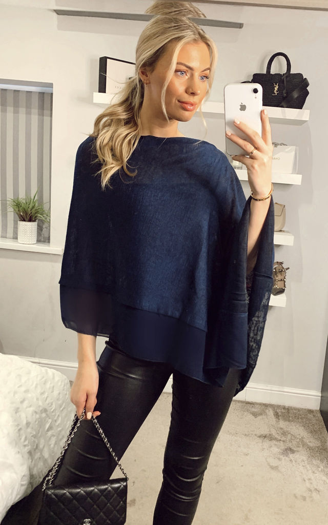 Summer Poncho With Contrast Fabric Border Navy by Yumi