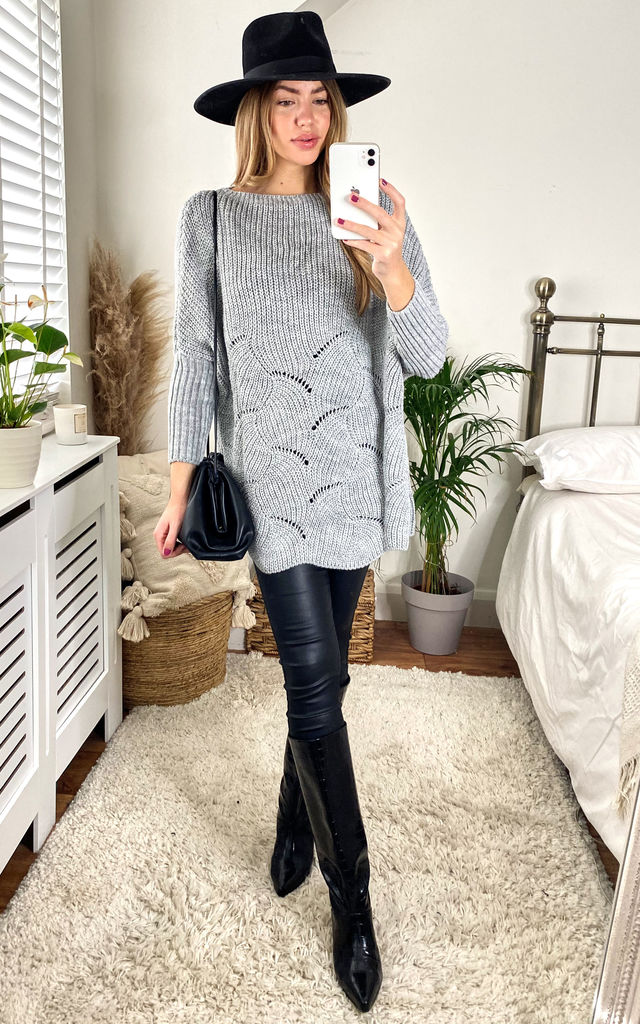 Grey Textured Knit Loungewear Jumper by URBAN TOUCH