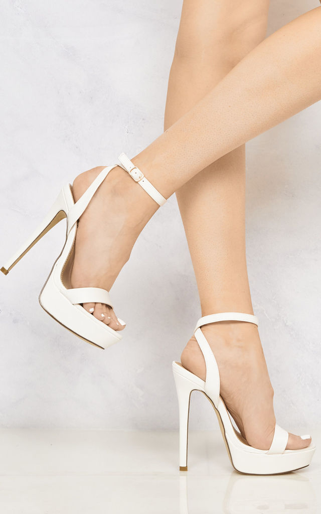 On The Rise Barely There Platform Anklestrap Sandal In White Matt by Miss Diva