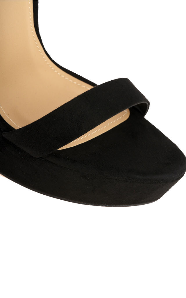 On The Rise Barely There Platform Anklestrap Sandal In Black suede by Miss Diva