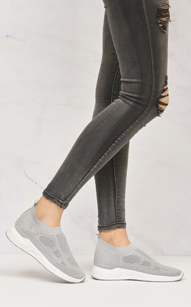 Claudia Knitted Mesh Diamante Slip On Trainer In Grey by Miss Diva
