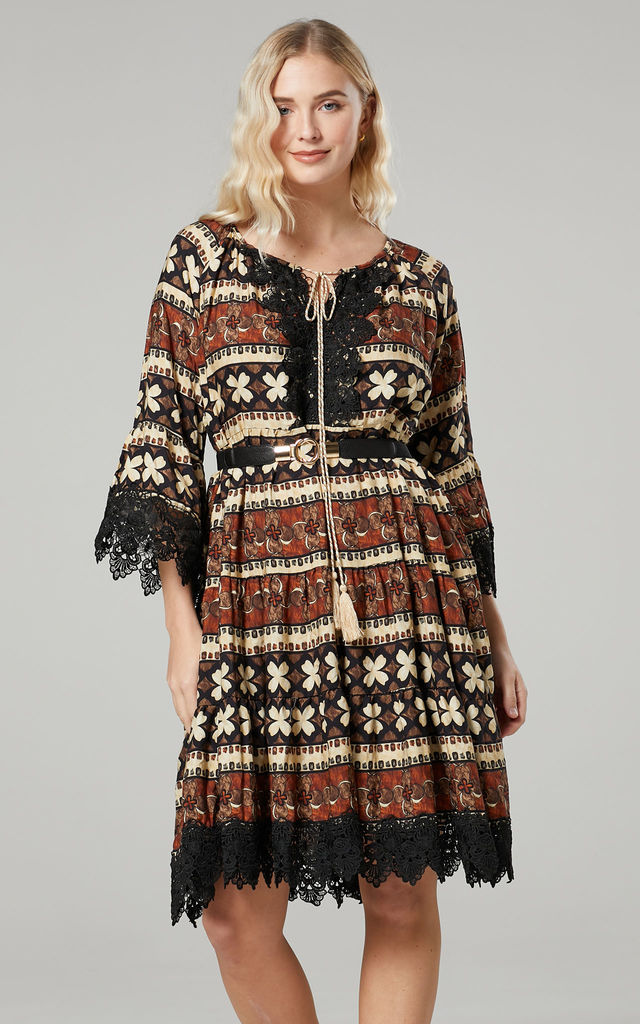 Women's Boho Abstract Print Oversize Dress in Brown by Chelsea Clark