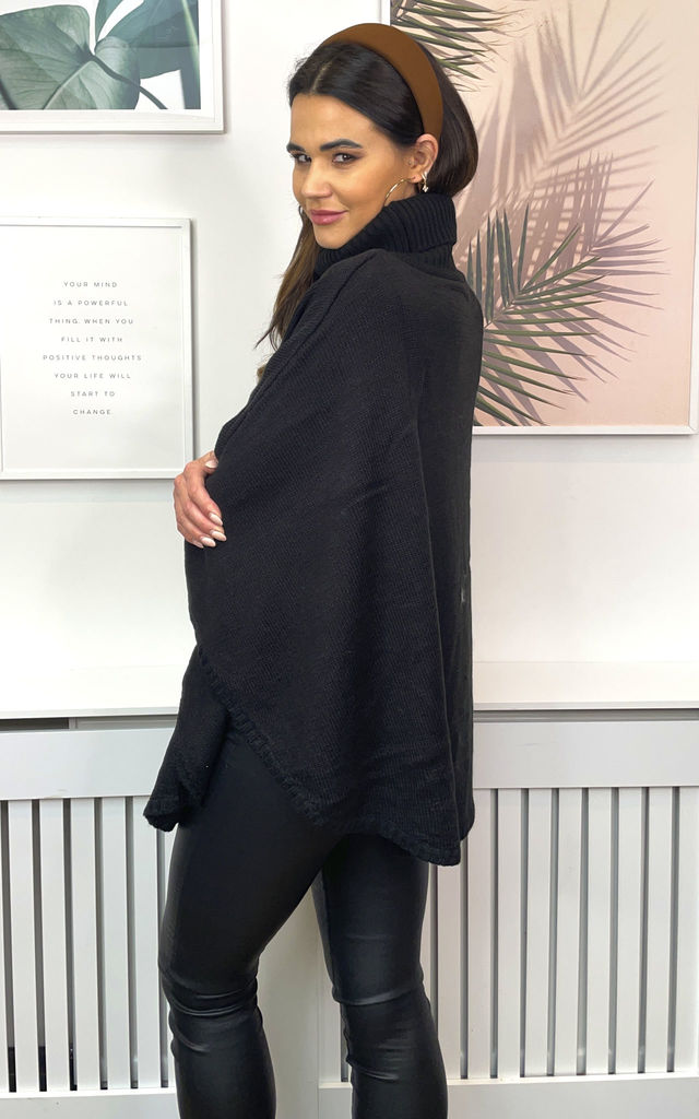 ROLL NECK CABLE PONCHO JUMPER by Malissa J Collection