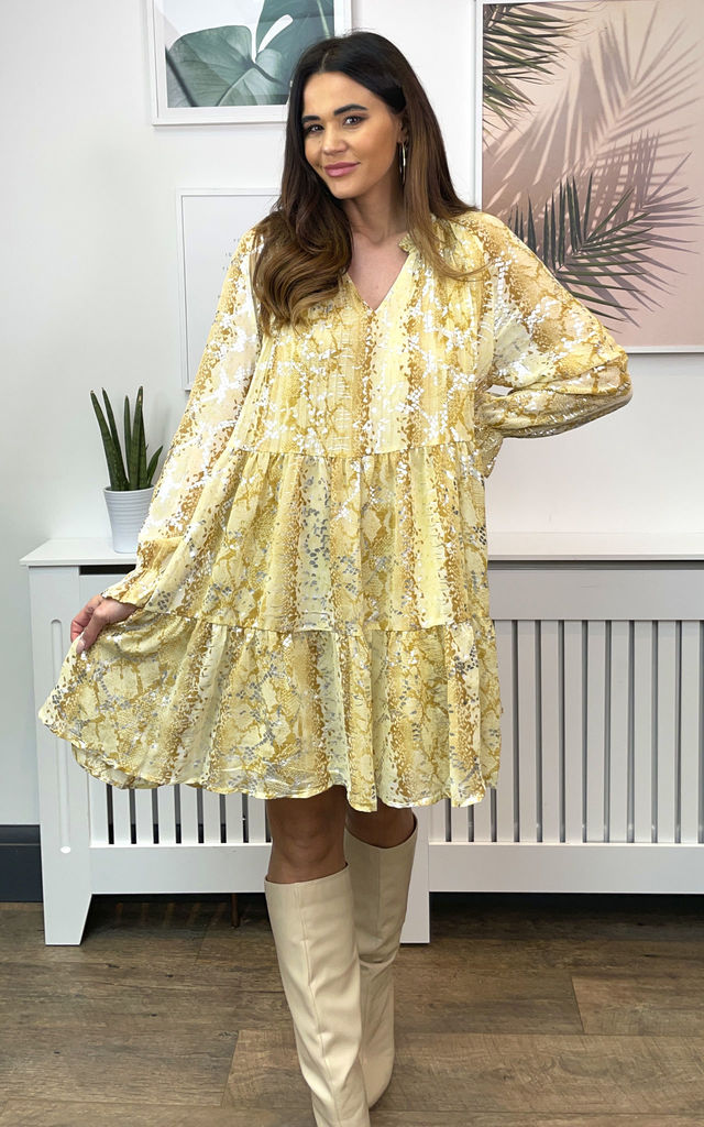 SNAKE PRINT SMOCK DRESS IN LEMON by Malissa J Collection