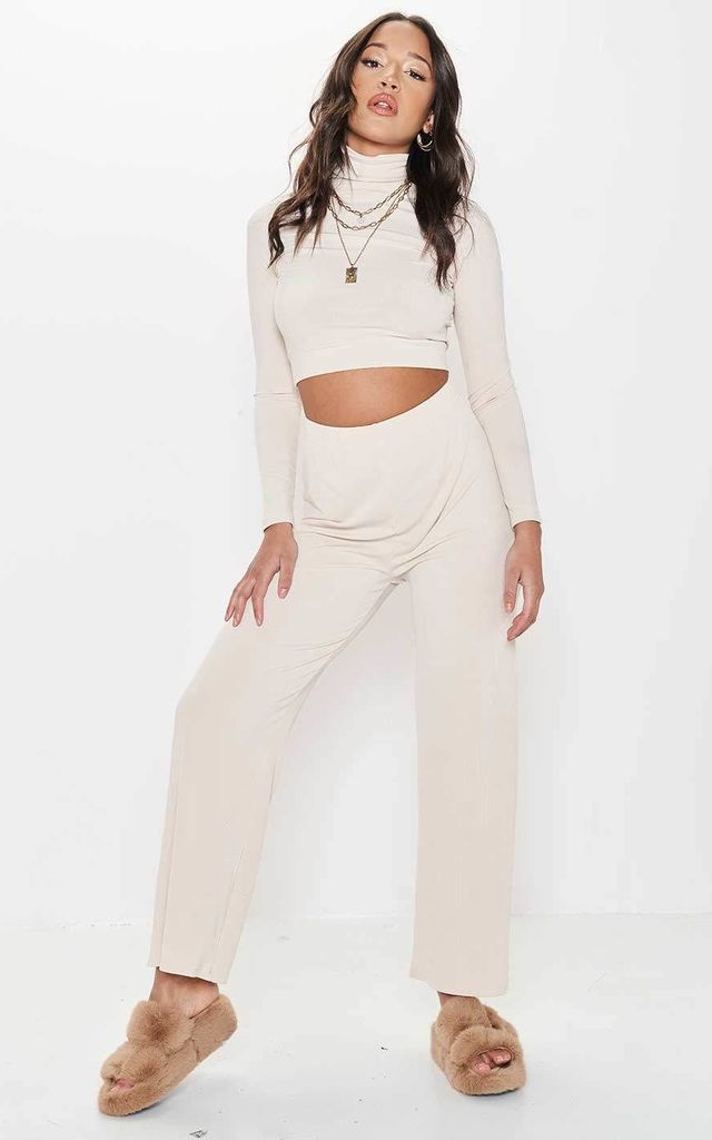 High Waisted High Neck Crop Top Pants Loungewear Co-Ord Set Beige by LILY LULU FASHION