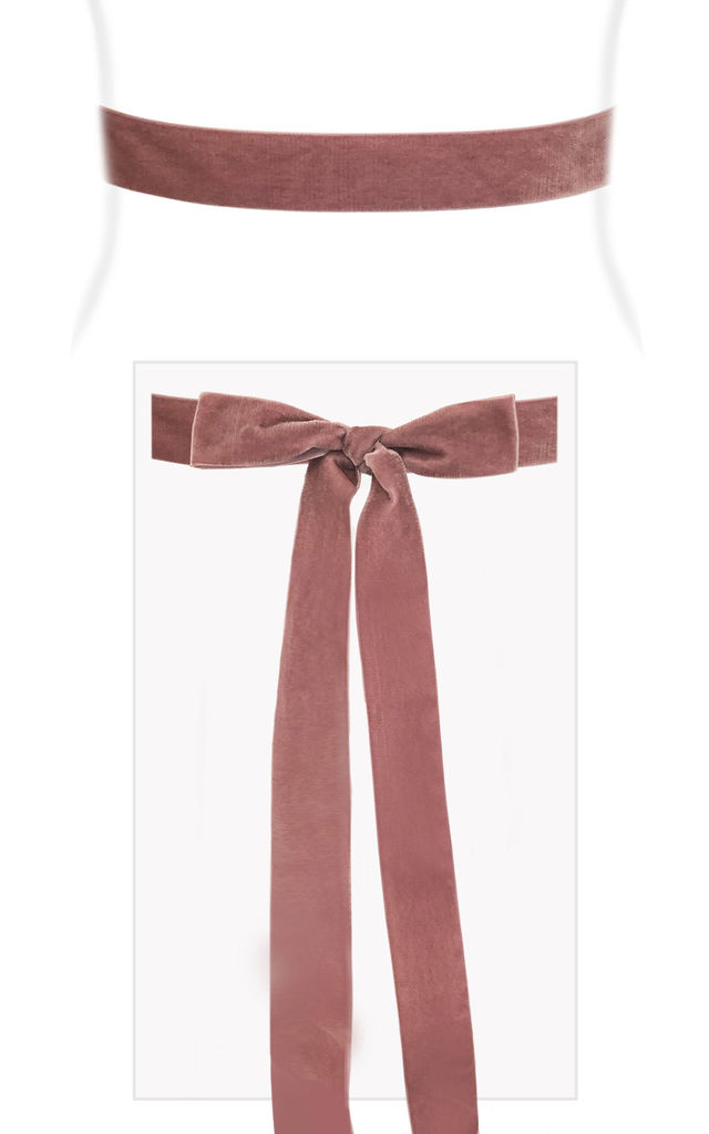 Velvet Ribbon Bridal Sash in Dusty Rose by Alie Street London