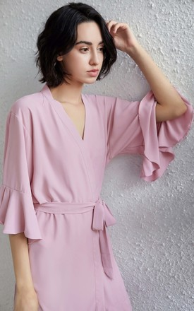 Ruffle Robe - Dusky Pink by Pink Waters Resort