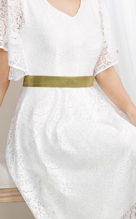 Velvet Ribbon Bridal Sash in Sage Green by Alie Street London