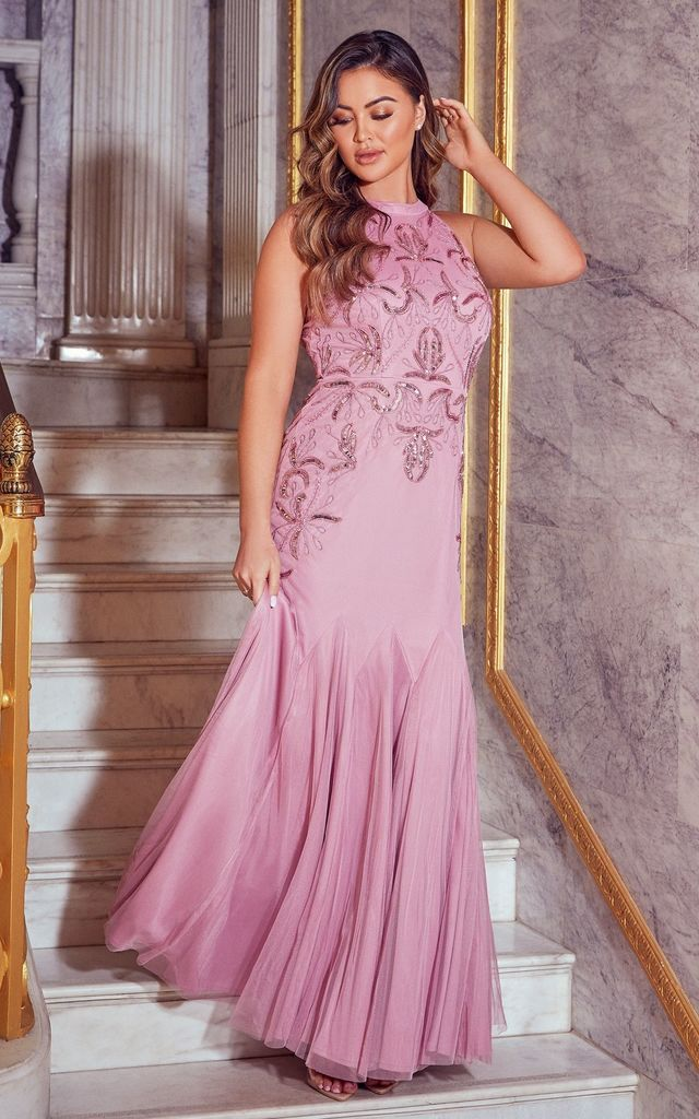 KYLEE LIGHT PINK MAXI DRESS by Sistaglam