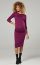 Women's Maternity Stretch Bodycon Dress Side Gathering 1297 Plum by Chelsea Clark