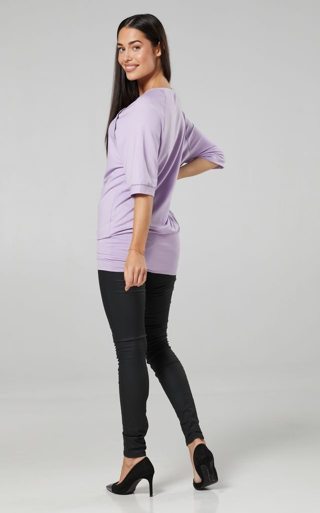 Women's Nursing Top Batwing Sleeves Maternity Breastfeeding Lavender 023 by Chelsea Clark