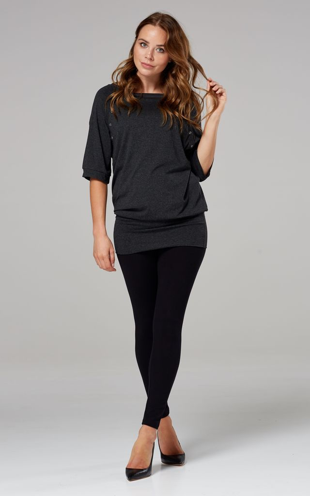 Women's Nursing Top Batwing Sleeves Maternity Breastfeeding Graphite Melange 023 by Chelsea Clark