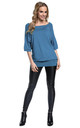 Women's Nursing Top Batwing Sleeves Maternity Breastfeeding Blue Jeans 023 by Chelsea Clark