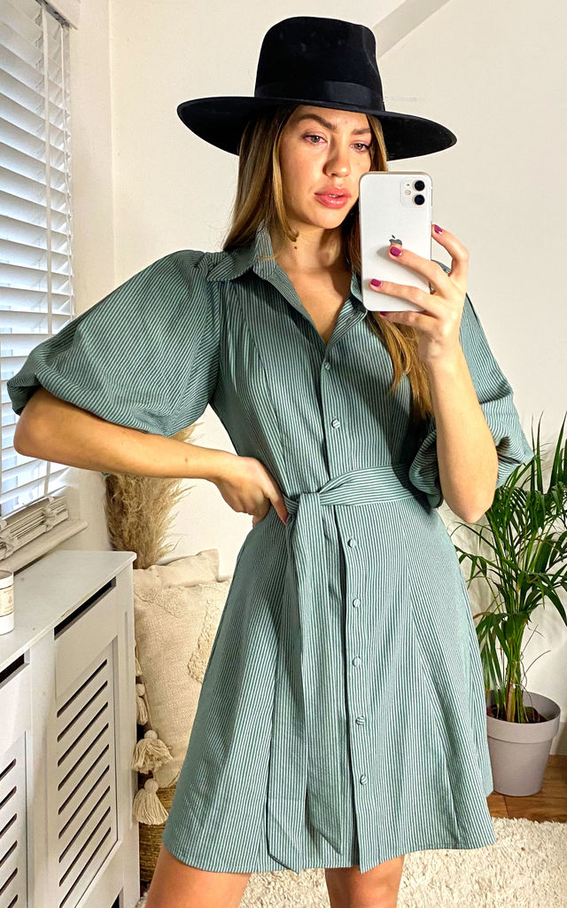 Green Short Sleeves Belted Shirt Dress by Gini London
